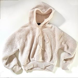 Forever 21 Cream Teddy Cropped Hoodie Size Small
